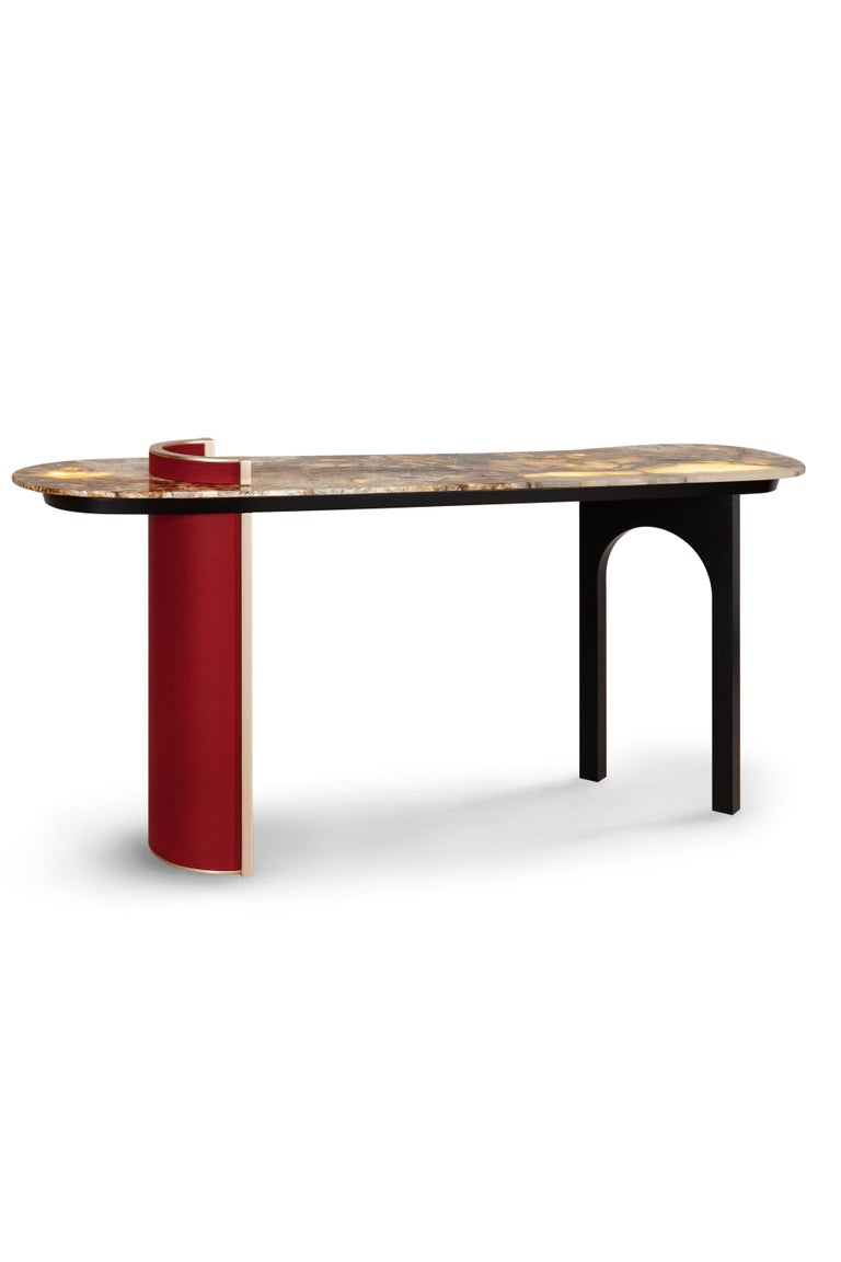 Chiado Console Blue Leather Champagne Black Lacquered Brushed Brass Oak Root Top For Sale 5