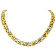 Chiampesan 0.85 Carat Diamond 18 Karat Two-Tone Gold Collar Necklace