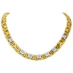 Chiampesan 0.85 Carat Diamond 18 Karat Two-Tone Gold Necklace
