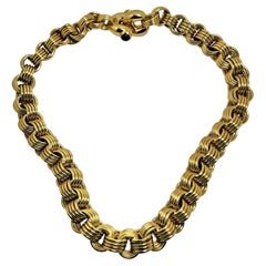 Chiampesan 18k Gold Four Spiral Link Necklace with Cabochon Sapphires on Clasp