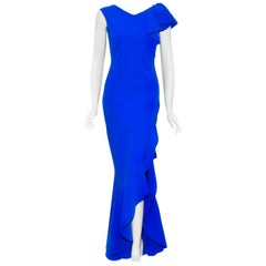 Chiara Boni Royal Blue Sleeveless Asymmetric Ruffle Gown With High Slit At Front