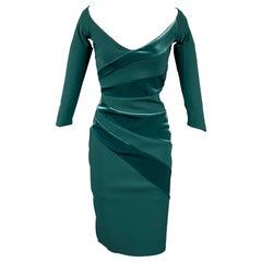 CHIARA BONI Size 4 Green Polyamide Velvet Panels Cocktail Dress