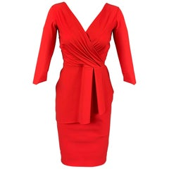 CHIARA BONI Size 4 Red Polyamide Peplum V-Neck Cocktail Dress