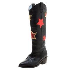Chiara Ferragni Black Leather Star Cow Boy Boots Size 38