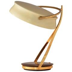 Chiarini Milano Rare 'Commander' Table Lamp in Metal, Brass and Stone