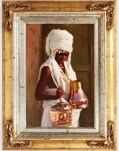 Oriental Young with Jars - Chías Oil painting on canvas Realism