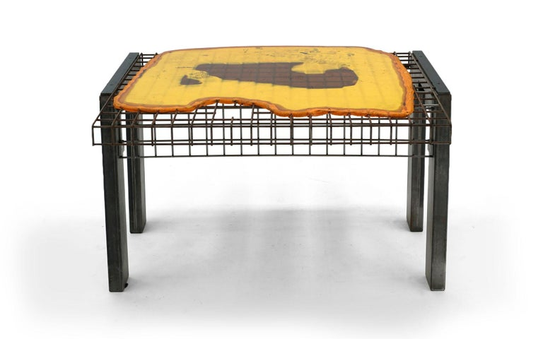 Gaetano Pesce Chiat Day desk New York, New York, circa 1994. This desk was produced in a very limited quantity for the TBWA Chiat Day advertising offices in New York City, which Pesce designed in 1994. Yellow, orange and black resin top with some