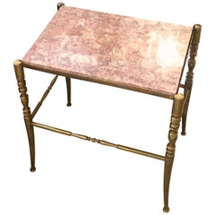 Chiavari Brass and Marble Side Table
