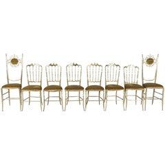 Chiavari Brass Chairs by Giuseppe Gaetano Descalzi, 1950s, Set of Eight