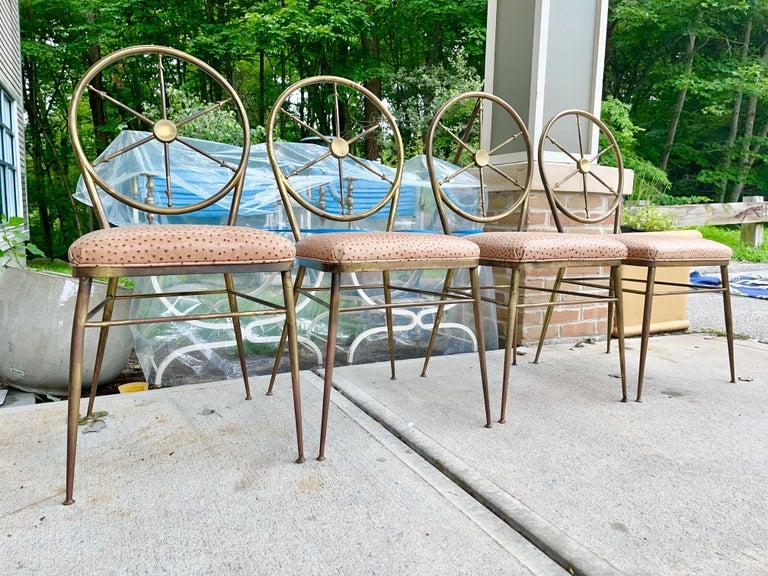 Chiavari Brass Compass Chairs, 4x For Sale 6