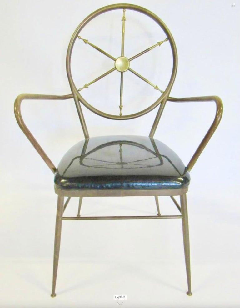 Chiavari Brass Compass Chairs, 4x For Sale 11