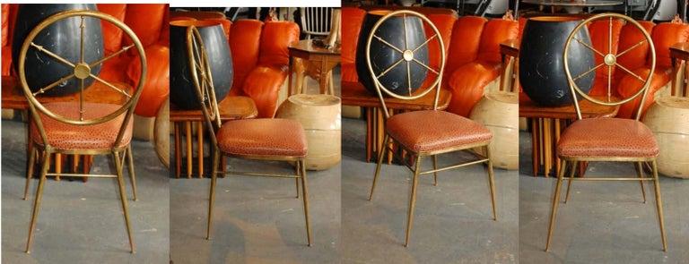 Chiavari Brass Compass Chairs, 4x For Sale 13