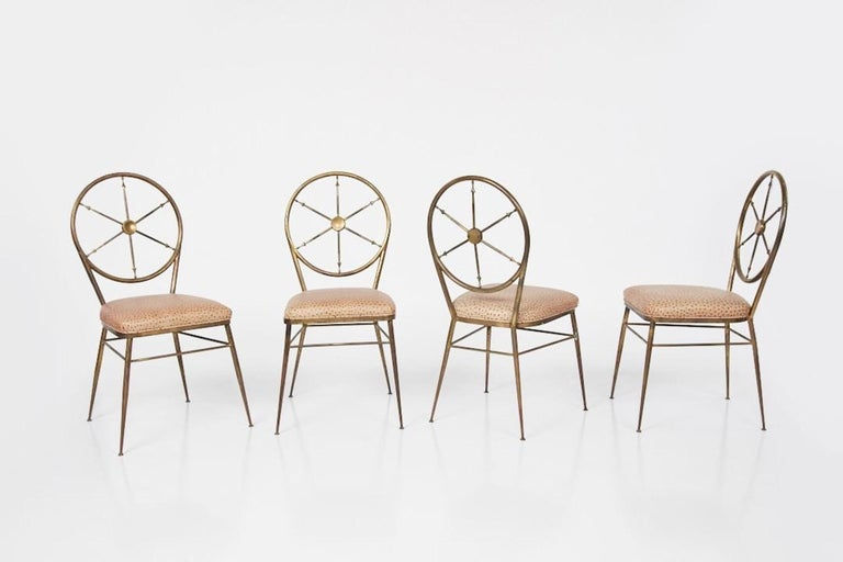 Mid-Century Modern Chiavari Brass Compass Chairs, 4x For Sale