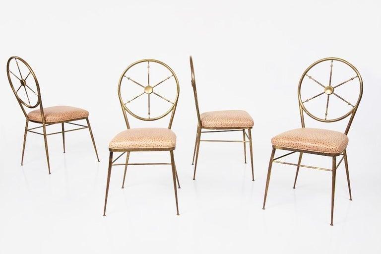 Italian Chiavari Brass Compass Chairs, 4x For Sale