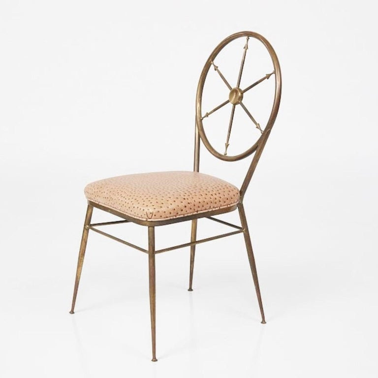 Mid-20th Century Chiavari Brass Compass Chairs, 4x For Sale