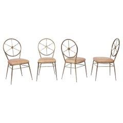 Chiavari Brass Compass Chairs, 4x