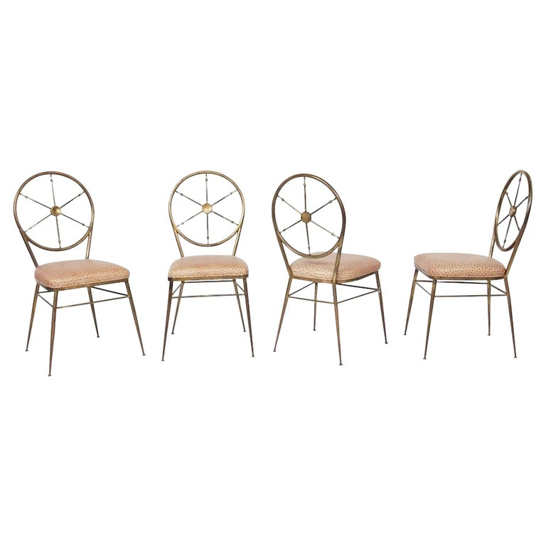 Chiavari Brass Compass Chairs, 4x For Sale