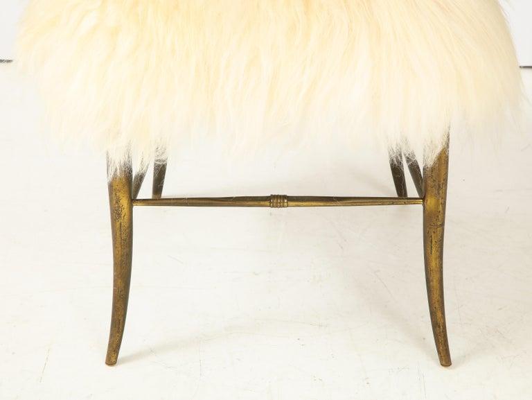Chiavari Brass, Sheepskin Chair For Sale 5