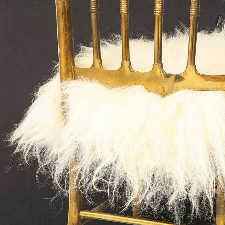 Chiavari Brass, Sheepskin Chair For Sale 7