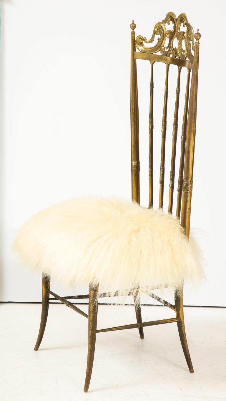Mid-Century Modern Chiavari Brass, Sheepskin Chair For Sale