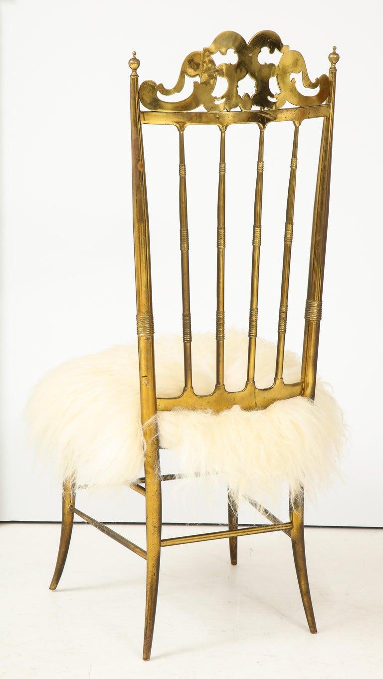 Italian Chiavari Brass, Sheepskin Chair For Sale