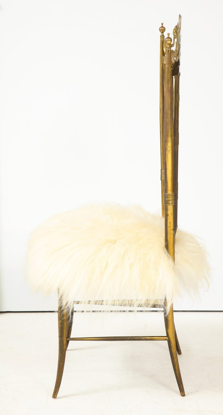 Chiavari Brass, Sheepskin Chair In Good Condition For Sale In New York, NY