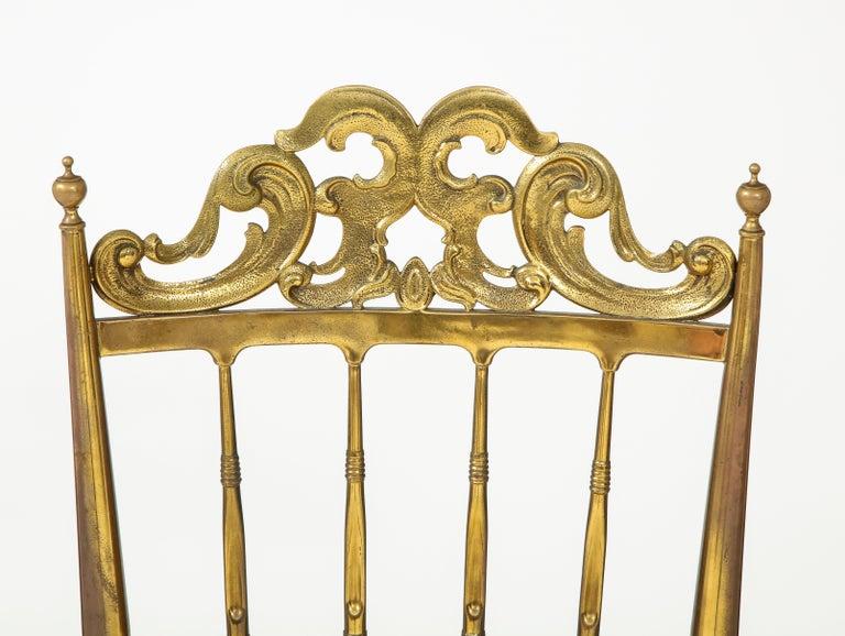 20th Century Chiavari Brass, Sheepskin Chair For Sale