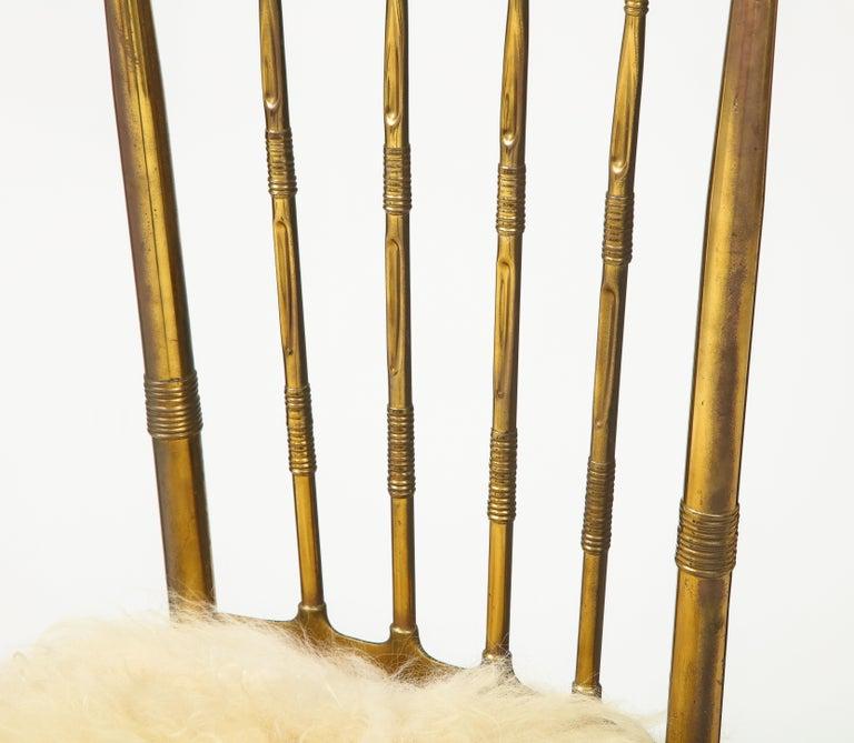 Chiavari Brass, Sheepskin Chair For Sale 3