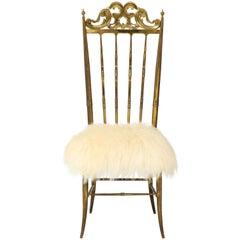 Chiavari Brass, Sheepskin Chair