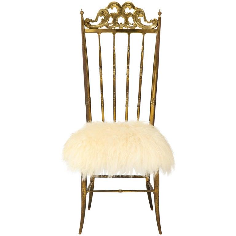 Chiavari Brass, Sheepskin Chair For Sale