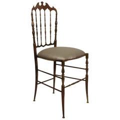 Chiavari Bronze Chair in Sumptuous Gray Italy 1950s Midcentury Elegance