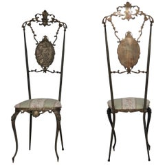 Chiavari Chairs Hollywood Regency, in Hand Finished Brass, Italy, 1930s