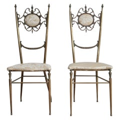Chiavari Chairs Hollywood Regency in Brass, Italy, 1950s