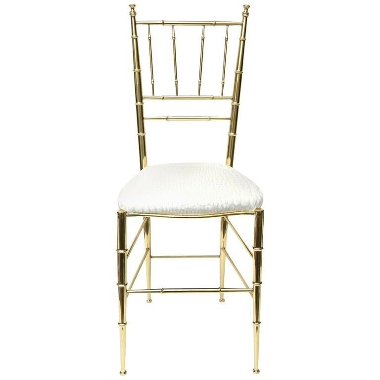 Chiavari Faux Bamboo Brass and Upholstered Side Chair Italian Mid-Century Modern For Sale