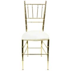 Chiavari Faux Bamboo Brass and Upholstered Side Chair Italian Mid-Century Modern
