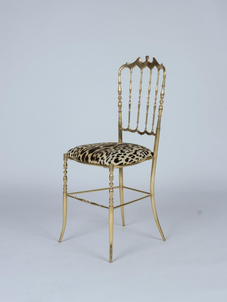 Vintage Classic Italian brass Napoleon III style Chiavari chair newly upholstered in a luxurious Nobilis Leopord Velours.