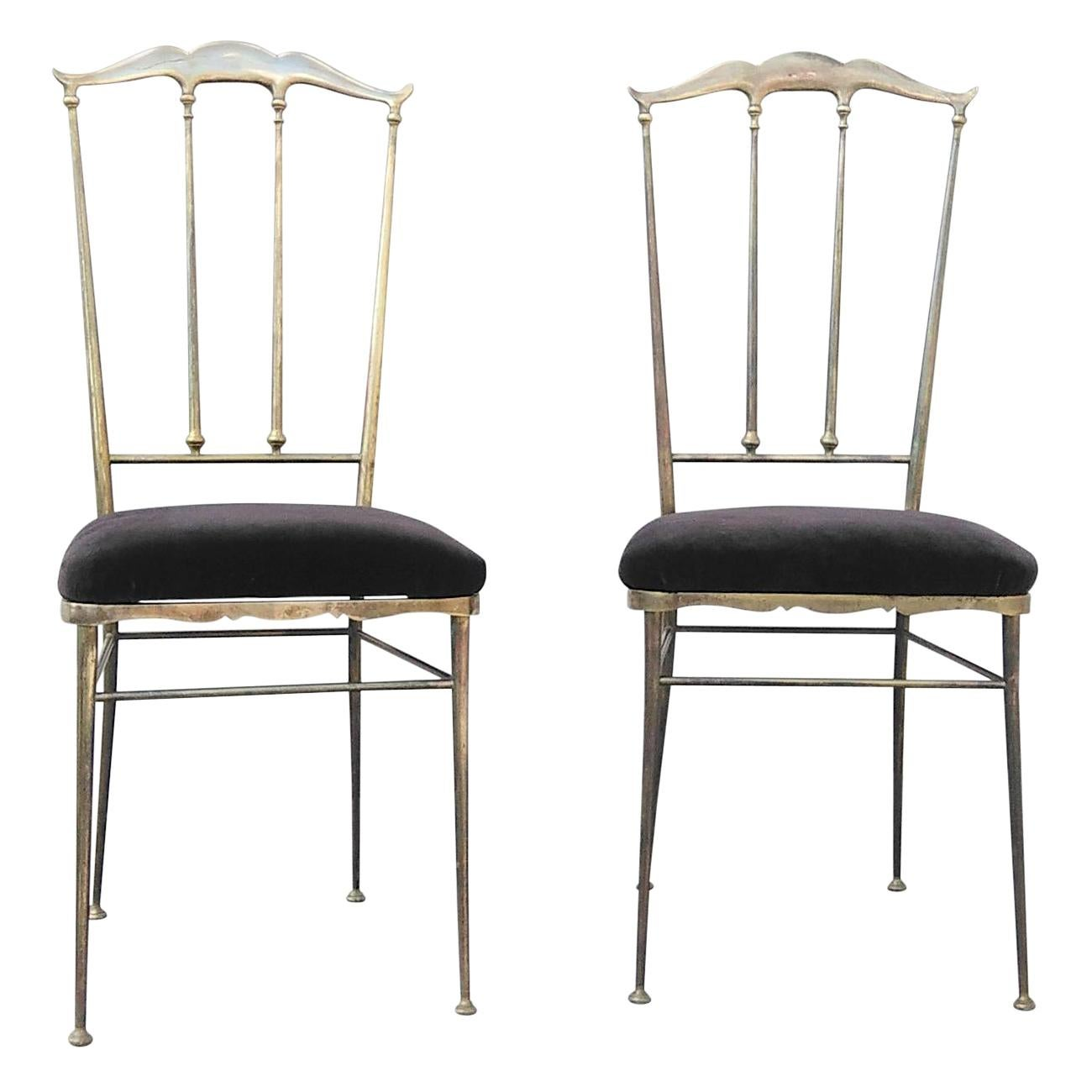Chiavari Pair of Solid Brass Chairs, Italy, 1960s