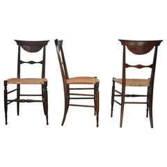 Chiavari Set Chairs in Cherrywood, Wicker Straw, Italy, 1870s