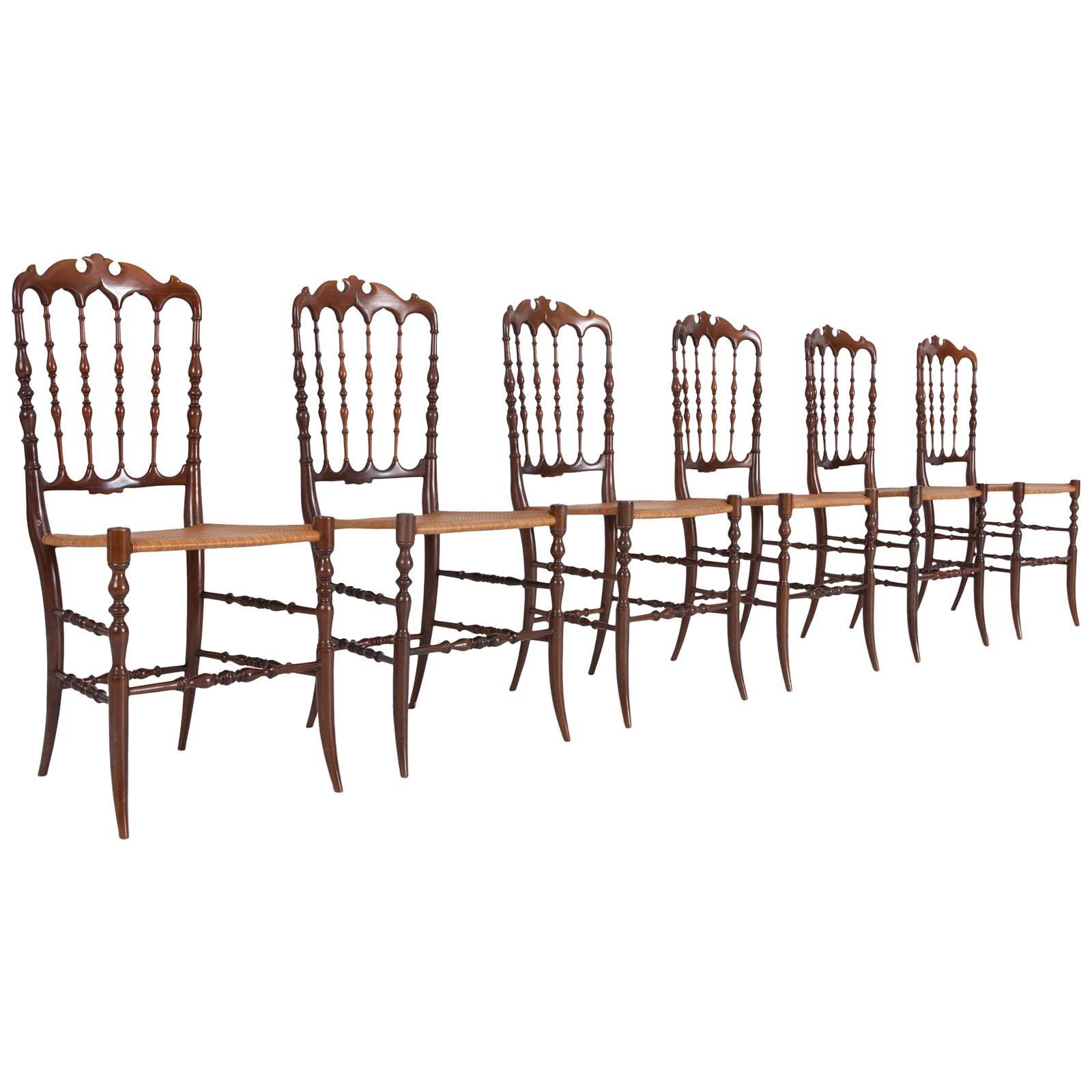 Chiavari Walnut and Wicker Dining Chairs