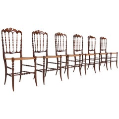 Chiavari Walnut and Wicker Dining Chairs