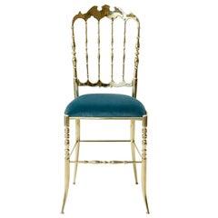 Chiavari Brass Dining Chair Light Blue Turquoise Mid-Century Unique Piece