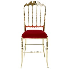 Chiavarina Brass dining chair red mid-century