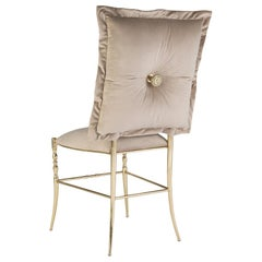 Chiavarina Dining Chair in Brass and Velvet Cushion Modern Classic by Bessa