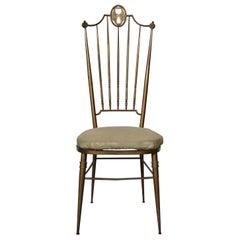 Chiavarina Hollywood Regency Brass Chair, Italy, 1950