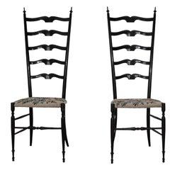 Chiavarine Chairs, Dark Maple Glossy Varnished, 1968s