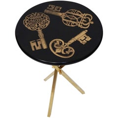 'Chiavi' Brass Tripod Side Table by Piero Fornasetti, circa 1960s Italy, Signed