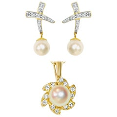 Chic 0.65 Carat Diamond and Pearl Earrings Pendant Set