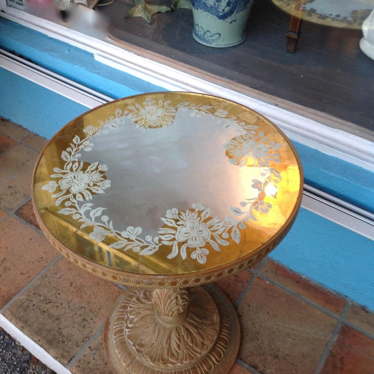 American Chic 1940s Reverse Painted Table For Sale