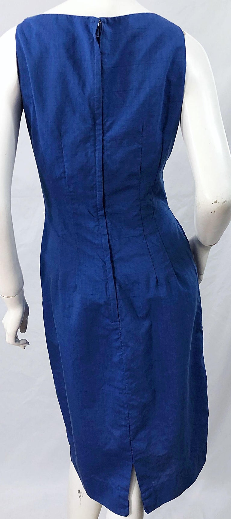 Chic 1950s Cobalt Blue Cotton High Neck Vintage 50s Sleeveless Wiggle Dress For Sale 6