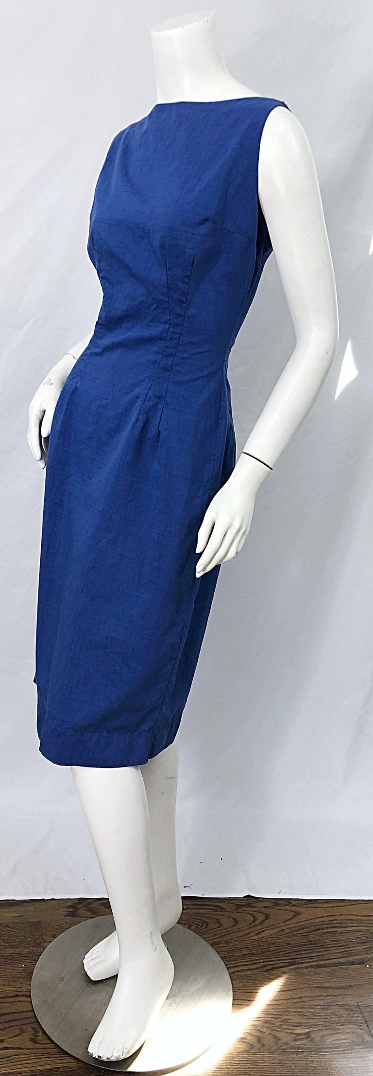 Women's Chic 1950s Cobalt Blue Cotton High Neck Vintage 50s Sleeveless Wiggle Dress For Sale